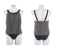 Wholesale Trendy Bikini Swimwear - Trendy Plus Size Womens Tankinis Swimwear Polka Dots 2 Pieces Bathing Suits Swimming Suits Swimwear European style