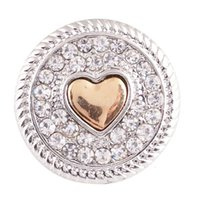 Wholesale Gold Ring Watch For Women - Wholesale-crystal heart love 20mm metal snap button Wrist watches for women sterling jewelry charm DIY bracelet KB6875