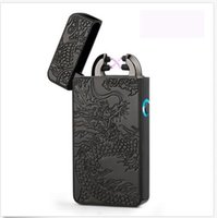 Wholesale Dual Flame - Electric Dual Arc Flameless USB Rechargeable Windproof Plazmatic X Lighter Black