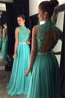 Wholesale Robe Mint - Mint Green Crystal Beaded Long Prom Dresses 2017 High Neck Sheer Chiffon A-Line Backless Party Gowns Vestidos De Fiesta Robe De Soiree