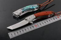 los mejores cuchillos plegables de damasco al por mayor-Nuevo 2 Estilo Damasco Flipper Cuchillo Plegable VG10 Damasco Acero Tanto Punto Cuchillo EDC Cuchillos de Bolsillo Mejor Regalo Con Funda de Cuero