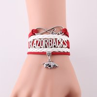 Wholesale Sports Team Jewelry - Wholesale- Infinity Love Arkansas Razorbacks bracelet NCAA Sports Team football charm rope bracelets & bangeles for women men jewelry