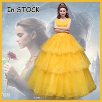 Wholesale Belle Beauty Beast Costumes Adults - 2017 New movie Beauty and the Beast Movie Princess Belle Emma Watson cosplay costume yellow dress adults Custom made