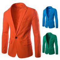 Wholesale Tight Single Sleeve - Blazer Men Plus Size Suit Collar Flax Long-sleeved Solid Tight Single Row of A Button Coat Men's Suit Men's Jacket 6 Colors