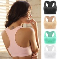 Wholesale Nylon Running Vest - Professional Absorb Sweat Top Women Athletic Running Sports Bra Seamless Padded Vest Tanks M L XL ZL3215