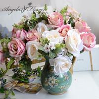 ingrosso fiori veramente artificiali-Vendita calda 13 teste / bouquet Artificiale aspetto reale peonia di seta rosa Fiori 7 colori mix decorativo Compleanno hotel Wedding Home vaso
