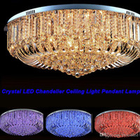 Wholesale Modern Crystal Ceiling - Free Shipping High Quality New Modern K9 Crystal LED Chandelier Ceiling Light Pendant Lamp Lighting 50cm 60cm 80cm