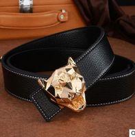 Wholesale Leopard Head Belt - Leopard head leather smooth buckle Style Designer Belts Men Genuine Leather Belt Plain Belt For Men Women High Quality Alloy Belts