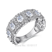 Wholesale cz eternity wedding band - New Grand Round Design Solid 925 Sterling Silver Wedding Ring Engagement Band AAA CZ Eternity Classic Jewelry Newshe JR4682