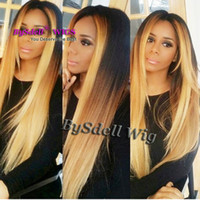 Hot Sexy Celebrity Ciara Hairstyle Peruca Sintético Preto Ombre Mel Blonde Cor Silky Straight Lace Front Perucas para preto / branco Mulheres