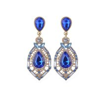 Wholesale Luxury Crystal Waterdrop Colorful Drop Earrings For Women Trendy New Design Earrings High end