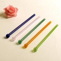 Wholesale Transparent Glasses Straws - Fashion Round Head Tubularis Transparent Durable Pyrex Glass Drinking Straw Eco Friendly Colorful Straws Easy To Carry 3mc B