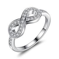 anel de amor infinito venda por atacado-BELAWANG Infinito Símbolo Anel de Noivado de Casamento Aniversário Sólido 925 Sterling Silver Jóias De Cristal Para Sempre Amor Atacado # 6 7 8 9