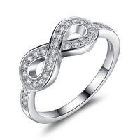 ingrosso gli anelli di infinito di cristallo-BELAWANG Infinity Simbolo Anello Anniversario Matrimonio Fidanzamento Solido 925 Sterling Silver Monili di Cristallo Per Sempre Amore All'ingrosso # 6 7 8 9