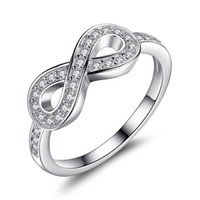 Wholesale Crystal Symbols - BELAWANG Infinity Symbol Ring Anniversary Wedding Engagement Solid 925 Sterling Silver Crystal Jewelry For Forever Love Wholesale# 6 7 8 9