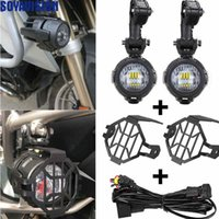 Wholesale Bmw Guard - Motorcycles LED Fog Light & Protect Guards with Wiring Harness For BMW R1200 GS  ADV Motorcycle Led Lights white 6000k