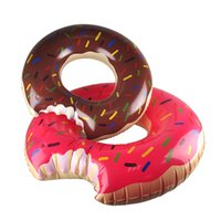 Wholesale Toy Boat Wholesale - 90cm Gigantic Donut Swimming Summer Outdoor Inflatable Swim Ring Pool Swimming Floating Boat Row Water Toy Pool Inflatable Floats Pool Toys