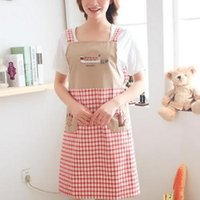 Wholesale Sleeveless Aprons - Free shipping wholesale home kitchen aprons embroidered sleeveless Japan and South Korea lovely fashion cotton cloth gowns, anti-oil polluti