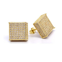 Wholesale Pave Earrings Studs - Screwback 2017 iced out micro pave Read lab Simulated aaa stone Fashion mens women cz earring