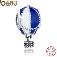 Grossiste-925 Sterling Silver Up And Away Hot Air Ballon Charmes Fit Bracelet Bricolage Blanc Bijoux Enamel Blanc PAS172