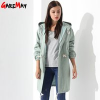 Wholesale Hooded Womens Trench Coat - Windbreaker Womens Trench Coat Autumn Famale Coat Medium Womens Pink Coat Causal Gabardina Mujer Hooded Trench Ladies GAREMAY