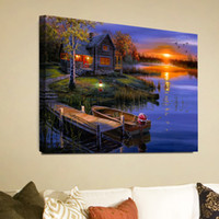 Wholesale Rivers Life - 1 Panels HD Night View River & Cabin Home Decor Wall Art Picture Digital Art Print Canvas Printed Picture for Living Room Wholesale