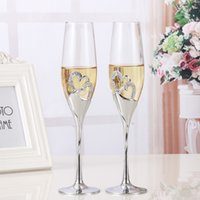 Wholesale Champagne Glasses Flutes - 2 PCS   Set Crystal Wedding Toasting champagne flutes glasses Cup Wedding Party marriage decoration cup for Gift Wine Drink