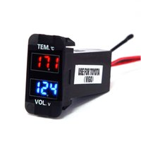 Wholesale Digital Voltage Display Blue - Digital Voltmeter Temperature Gauge 2 in 1 Voltage Temp Meter Red Blue LED Dual Display for Toyota VIGO Size 1.58*0.87inch