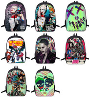 Wholesale Unisex Outdoor Travel Sports bags Suicide Squad Harley Quinn Backpacks Should Bags Bookbag Rucksacks For Boys Girls