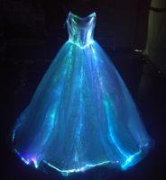 Wholesale Fiber Optic Length - Fiber optic Light up A-Line Spaghetti Strap Wedding Dresses Glow in the dark Bridal Gown Luminous Sleeveless Formal Party Maxi Dresses