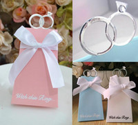Wholesale Paper Favor Candy Bags Wholesale - Silver Rings Europe Wedding Candy Boxes Lovely Bow Blue White Pink Anniversaries Wedding Gift Boxes Paper Favor Candy Bags For Weddings
