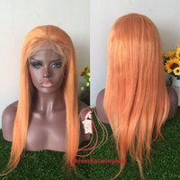 Wholesale Black Orange Wig - orange colored human hair Glueless Lace Front Wigs for Black Women orange virgin Brazilian Remy Human Hair Silky Straight