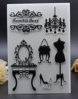Wholesale Stamping Scrapbook - Wholesale- 11X16CM PLASTIC CLEAR STAMPS DIY Scrapbook Card Decoration mirror lady dress shoes silicon transparent roller stamp