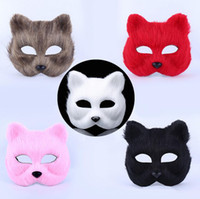 Wholesale Sexy Hairy - 2017 Halloween masquerade party masks animal man and woman half face mask hairy sexy fox mask