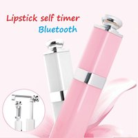 Wholesale Mini Charms Phone - New Lipstick mini mobile phone self timer Bluetooth universal S1 self timer rod charm aluminum alloy telescopic rod DHL free shipping