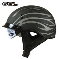 Wholesale Sol Helmets - SOL Open Face vintage Motorcycle Helmets with inner sun visor Racing moto helmets Women man retro vaspa motorbike helmet