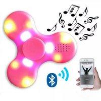 Wholesale Music Cube Toy - 20pcs Led Bluetooth Music Fidget Cube Spinner Finger HandSpinner EDC Hand Tri Spinner HandSpinner EDC Toy For Decompression Plastic Toys