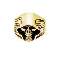 Wholesale Titanium Skull Mens Rings - Wholesale 10Pcs lot 2017 New Fashion Biker Rings Vintage Punk Jewelry Titanium Steel Gold Color Rings Grim Reaper Skull Mens Rings