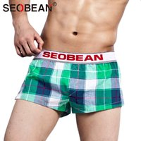 Wholesale Home Botton - Wholesale- Seobean Brand Men Underwear Boxer Shorts Trunks Cotton Low Waist Home Sleepwear Gay Sweatpants Shorts Jogger Trunks New Bottoms