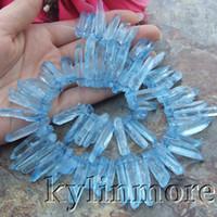 """Wholesale Minerals Gemstones - 5x21mm-7x36mm Blue Quartz Top-drilled Gemstone Beads 14"""" Strand"""