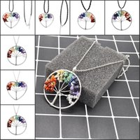 7 Chakra Life Of Tree Collier 6 styles différents Pendentif Wrap Perle en pierre naturelle Multicolor Rainbow Fashion Jewelry B156S