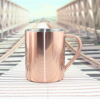 Wholesale Coffee Cup Candles - Vacuum Plating Copper Cup Durable Moscow Mule Mug Coffee Water Cups Candle Whisky Mugs With Handle For Home 30sx A R