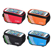 Wholesale Bicycle Bag Phone Orange - Bicycle Bags Cycling Bike Frame 5.7 inch Touch Screen Phone Holder Frame Tube Storage Bag MTB Road Bike Case Pouch 4Colors 2521002