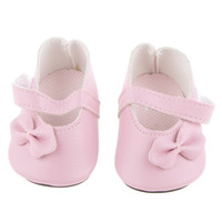 Wholesale Pink Doll Clothing - New Pink Pair Flat Shoes with Bow for 18 inch American Girl Our Generation Journey Dolls Clothes Dollhouse Decoration Accessory