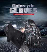 Wholesale luvas pro biker - Free Shipping PRO Full Finger Protective Gear Black Carbon Fiber Pro-Biker Bike Motorcycle Motorbike Racing Gloves Luvas M L XL