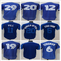 Wholesale Purple Pills - 2017 Men's Throwback 19 Jose Bautista 20 Josh Donaldson Baseball Jerseys Nicknames 6 Stro-show 11 Pill Stitched Jersey