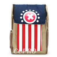 Wholesale One Piece Shoulder Bag - Wholesale- One Piece Tony Tony Chopper nylon+canvas backpack 2 colors double-shoulder bag!