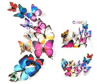 Wholesale Disposable Paper Glass - 12Pcs=1 lot 3d Wall Sticker Stickers Butterflies Pegatinas de pared Art Animal Carton Rolly Wall Stickers Paper Room Decoration