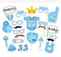 mavi fotoğraf kızı toptan satış-Bebek Duş Dekorasyon 25 Parça Onun Bir Oğlan Kız Photo Booth Dikmeler Doğum Günü Mavi Pembe Vaftiz Parti PhotoBooth Malzemeleri