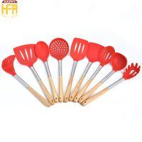Wholesale Spatulas Wood - Kitchenware Set Kitchen Tools Kitchen Utensils Creative Nonstick Spatula Spoon Multi Function Cooking Kit Shovel Wood Handle 9Pcs Set